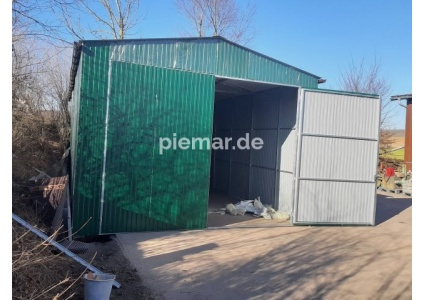Blechgarage-5x8x3,5m-in-Farbe-RAL6029