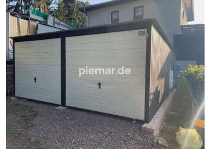 Blechgarage-5x5m-in-Farbe-RAL9010&7016