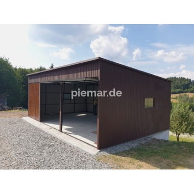 Blechgarage-3x-Schwingtor-in-Farbe-RAL8017-Holzoptik